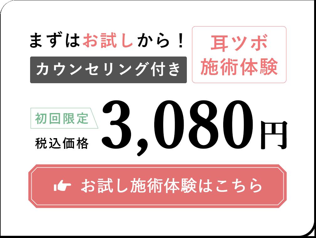 まずはお試しから!カウンセリング付き。耳ツボ瀬術体験。初回限定3.080円。